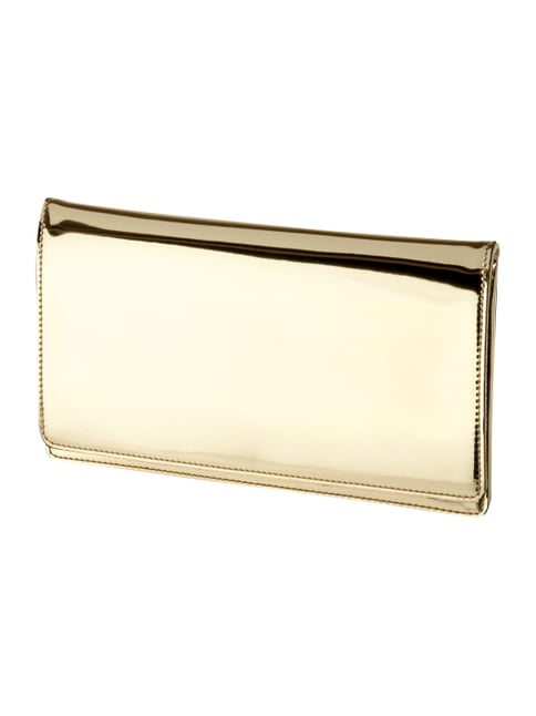 Clutch aus Leder in Metallicoptik Gelb - 1