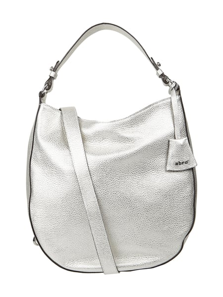 Abro Hobo Bag aus Leder in Metallicoptik Silber