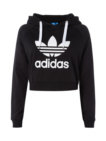 new york 3a416 53bf2 ADIDAS-ORIGINALS Crop-Hoodie mit Logo-Print in Grau ...