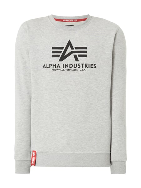 Alpha Industries 'BASIC SWEATER' mit Logo-Print Mittelgrau meliert