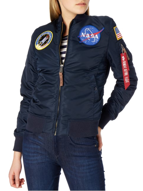 Alpha Industries Bomber mit NASA-Aufnähern Blau - 1