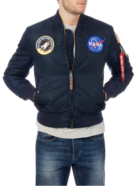 Alpha Industries Bomber mit NASA-Aufnähern Marineblau - 1