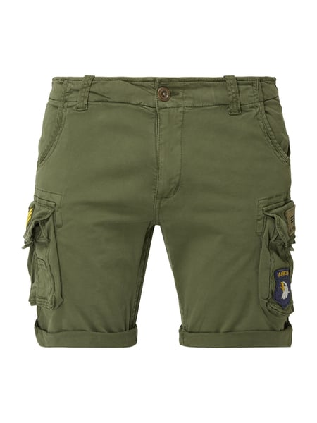 Alpha Industries Cargoshorts mit Logo-Applikationen Grün - 1