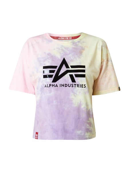Alpha Industries Cropped T-Shirt in Batik-Optik Lila - 1