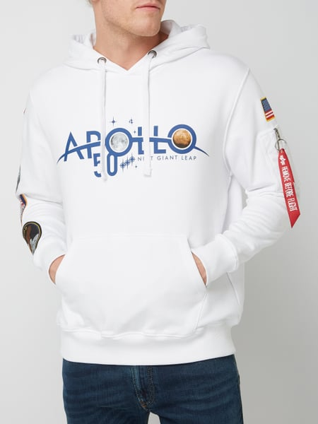 huge discount 6009e 4a87d Alpha Industries – Hoodie mit Apollo-Patches – Weiß