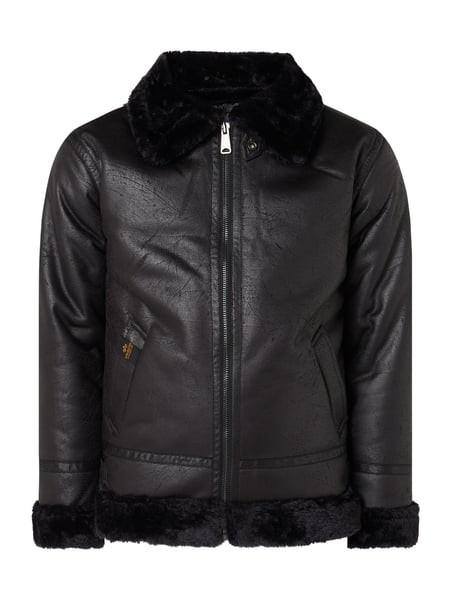 Alpha Industries – Jacke in Shearling Optik – Schwarz
