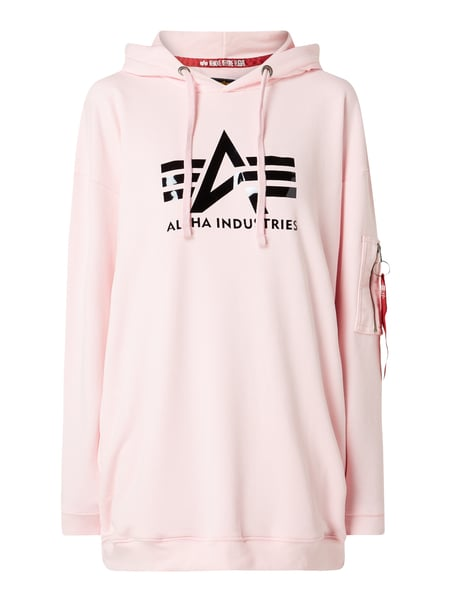 Alpha Industries Oversized Hoodie mit Logo-Print Rosa - 1