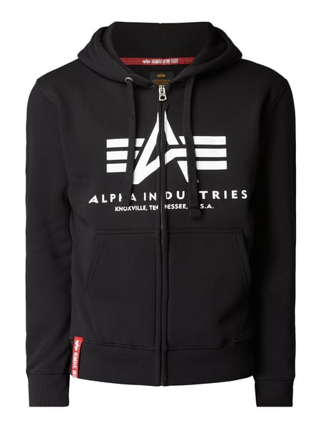 Alpha Industries – Sweatjacke mit Kapuze – Schwarz