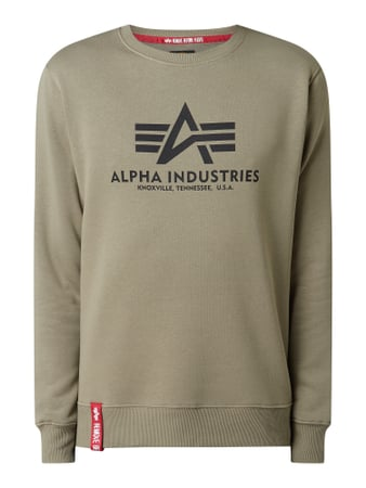 Alpha Industries 'BASIC SWEATER' mit Logo-Print Grün - 1