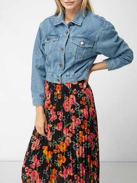 Rote cropped jeansjacke