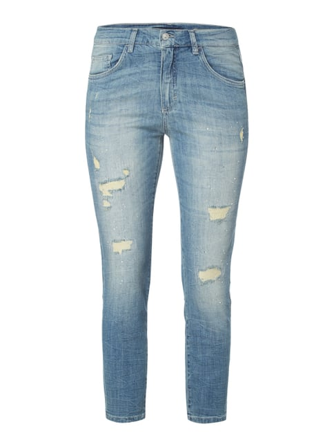 Girlfriend Fit Jeans im Destroyed Look Blau / Türkis - 1