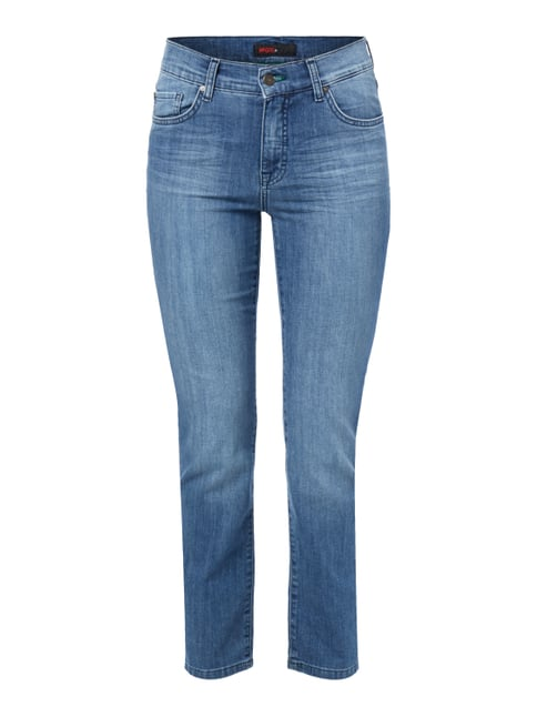 Stone Washed Regular Fit Jeans mit Ziernähten Blau / Türkis - 1