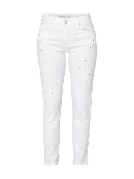 Angels 12234 Cici Starl - Straight Fit Jeans mit Stern-Applikationen Weiß