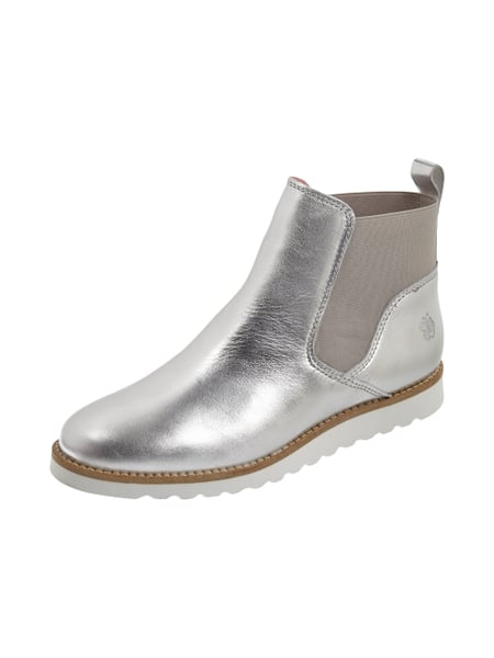 Apple of Eden Chelsea Boots aus Leder in Metallicoptik Silber