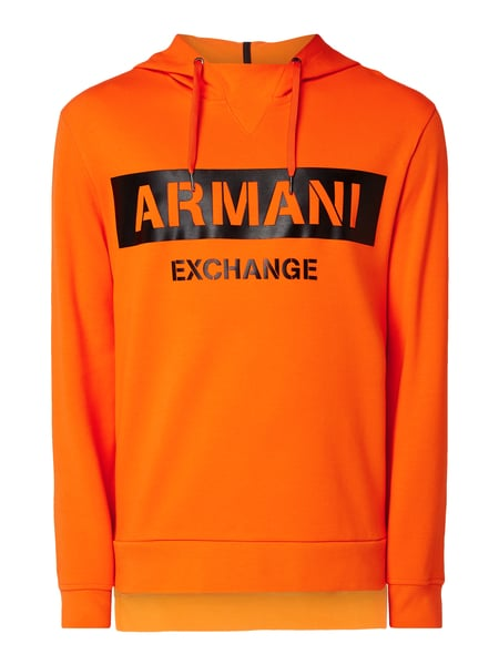 ARMANI EXCHANGE Hoodie mit gummiertem Logo-Print Orange - 1
