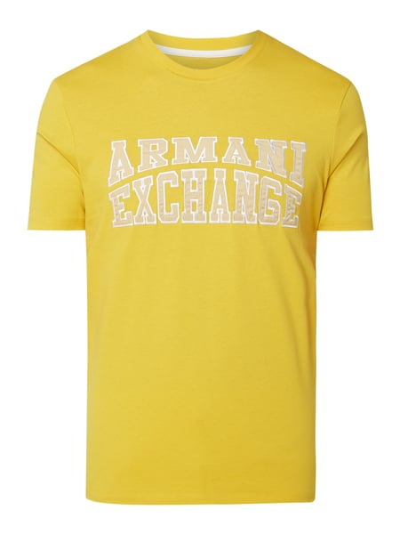 ARMANI EXCHANGE Regular Fit T-Shirt mit Logo-Stickerei Gelb - 1