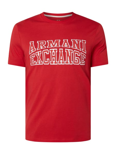 ARMANI EXCHANGE Regular Fit T-Shirt mit Logo-Stickerei Rot - 1