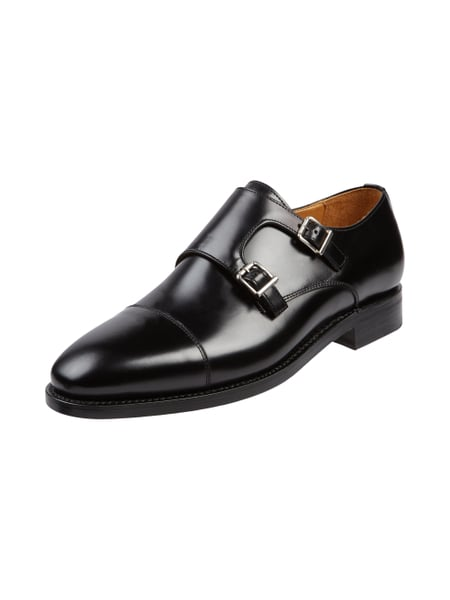 house of paul rosen double monk straps aus echtem glattleder in grau schwarz online kaufen. Black Bedroom Furniture Sets. Home Design Ideas