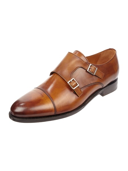 House of Paul Rosen Double Monk Straps aus Glattleder Cognac