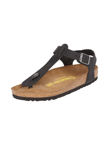 birkenstock zehentrenner sandalen aus leder in grau schwarz online kaufen 9301582 p c online. Black Bedroom Furniture Sets. Home Design Ideas