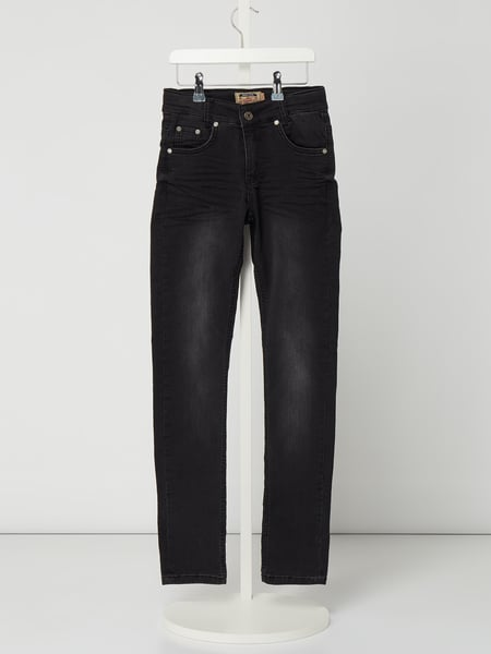 Blue Effect Stone Washed Skinny Fit Jeans Schwarz - 1