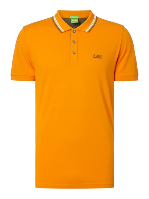Regular Fit Poloshirt mit Kontraststreifen Orange - 1