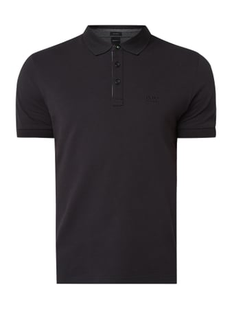 BOSS Athleisurewear Regular Fit Poloshirt mit Logo-Stickerei Modell 'Peos' Schwarz - 1