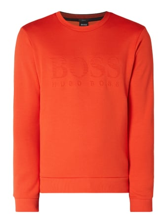 BOSS Athleisurewear Slim Fit Sweatshirt mit Logo-Prägung Orange - 1