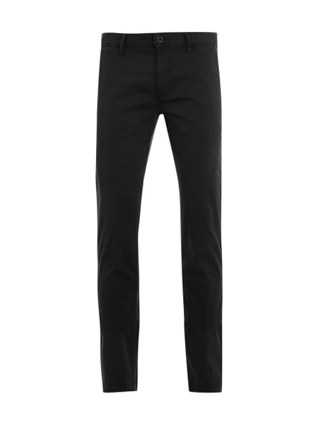 Chino Slim mit Label-Patch Grau / Schwarz - 1