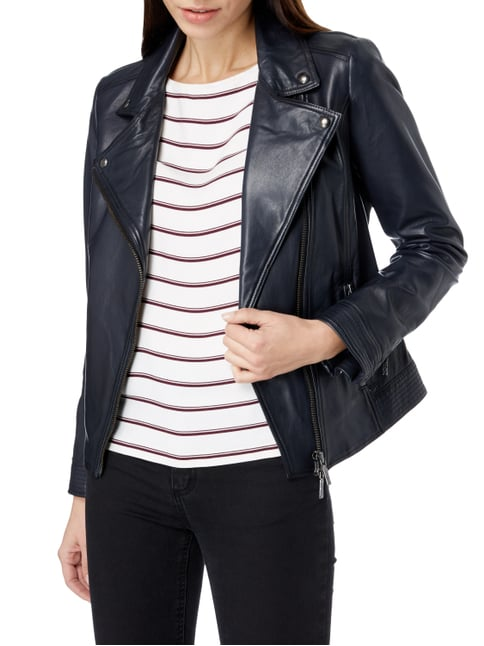 Boss Orange Lederjacke im Biker-Look Marineblau - 1