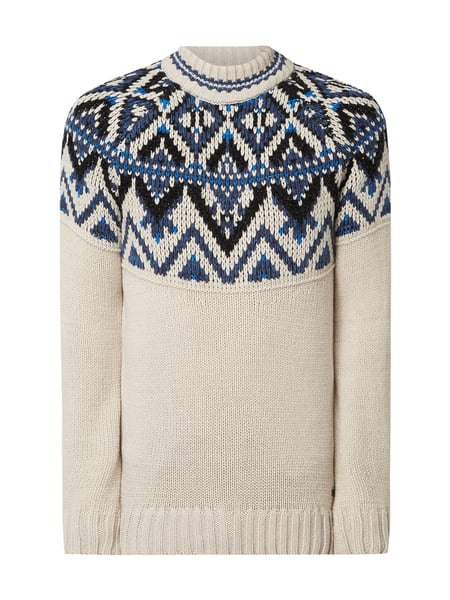 Boss Casual Pullover mit Norweger-Dessin Weiß - 1