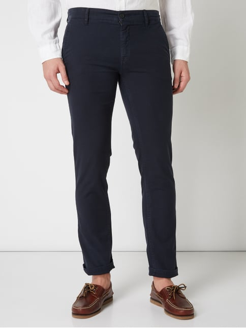 ... Boss Casual Slim Fit Chino mit Webstruktur Dunkelblau - 1 7e2fd13e26