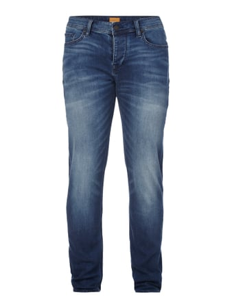 Stone Washed Tapered Fit Jeans mit Knopfleiste Blau / Türkis - 1