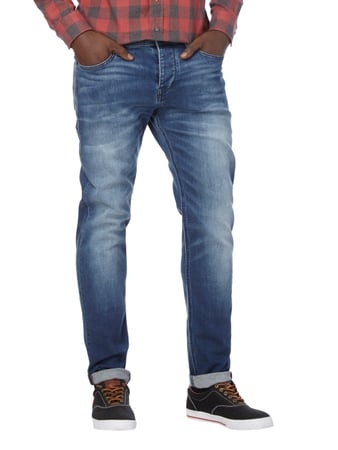 Boss Orange Stone Washed Tapered Fit Jeans mit Knopfleiste Dunkelblau - 1