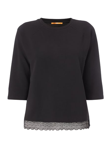 Boss Orange Sweatshirt mit Rippenstruktur Schwarz