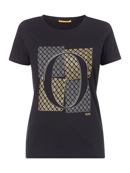 Boss Orange T-Shirt mit Logo-Print in Metallicoptik Schwarz