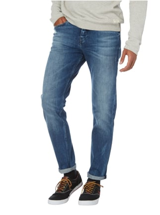 Boss Orange Tapered Fit Jeans im Destroyed Look Blau - 1
