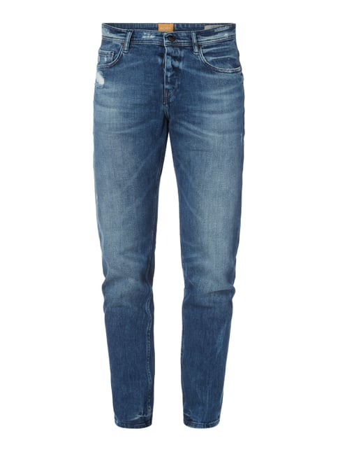 Tapered Fit Jeans im Destroyed Look Blau / Türkis - 1