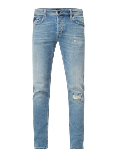 Boss Orange Orange90-c 10200 - Tapered Fit Jeans im Destroyed Look Hellblau