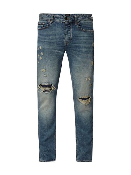Boss Casual Tapered Fit Jeans im Destroyed & Repaired Look Blau / Türkis - 1