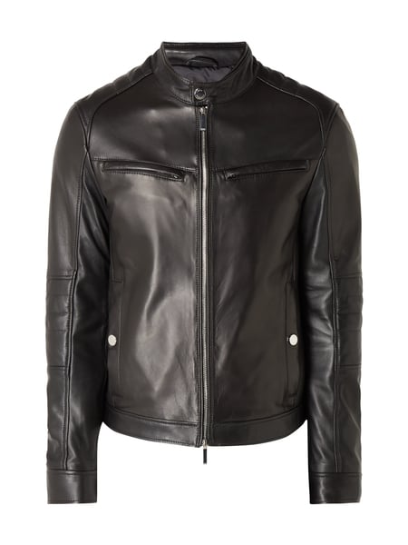 Boss Nyvano - Regular Fit Lederjacke im Biker-Look Schwarz