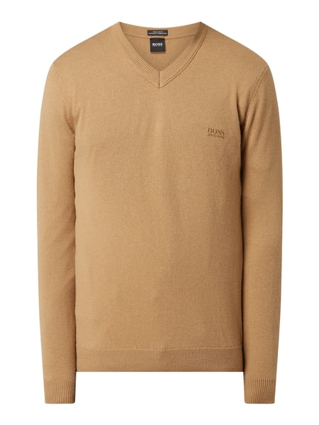BOSS Regular Fit Pullover aus Schurwolle Braun - 1
