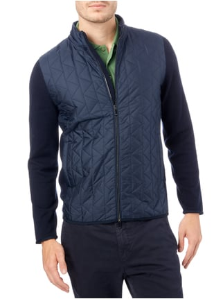 Boss Regular Fit Strickjacke mit Kontrastvorderseite Marineblau - 1