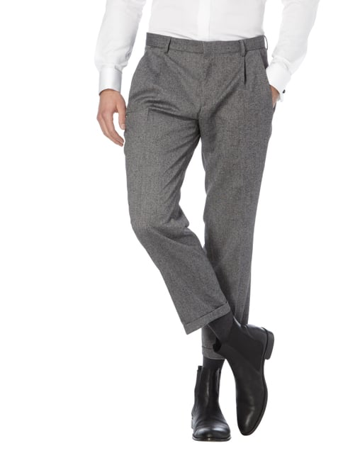 Boss Slim Fit Business-Hose mit Seide-Anteil Mittelgrau - 1