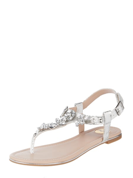 more photos 5b618 19a78 Buffalo – Sandalen in Metallicoptik mit Ziersteinen – Silber
