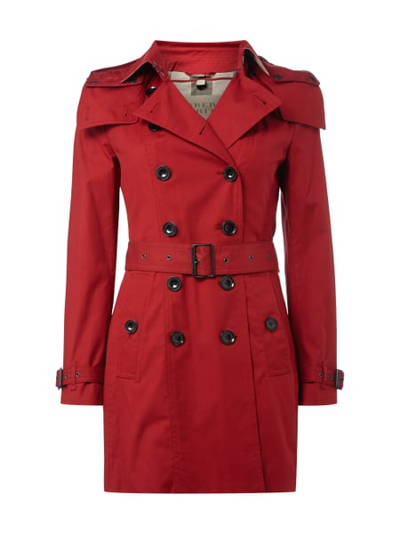 hot sales 5f17c d79d3 BURBERRY-BRIT Trenchcoat mit abnehmbarer Kapuze in Rot ...