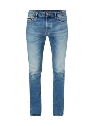 Double Stone Washed Slim Straight Fit Jeans Blau / Türkis - 1