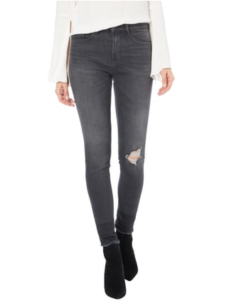 Calvin Klein Jeans High Rise Skinny Fit Jeans im Destroyed Look Dunkelgrau - 1