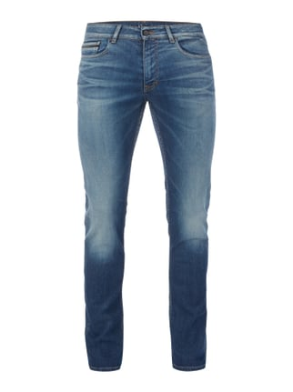 Slim Straight Fit Jeans im Light Used Look Blau / Türkis - 1