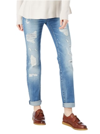 Calvin Klein Jeans Straight Fit Jeans im Destroyed Look Blau - 1